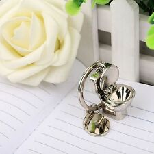Novelty 3D Silver Simulation Toilet Closestool Keychain Key Ring Gift Bathroom