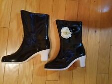 Camellia Flowers RAIN BOOTS BLACK & IVORY SIZE 38