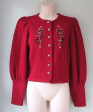 Vgt 80's German Red Cardigan Sweater Astrifa Strick-Modelle Trachten Women Small