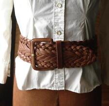 Vtg Moroccan Gypsy Hippie Boho Wide Brown Braided Leather Cinch Waist Belt -M