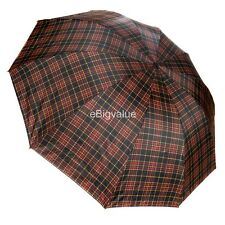 Red/Yellow Plaid Men's Travel WindProof Compact portable Folding UV Umbrella