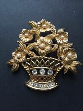 Vintage Christian Dior Gold Tone Flower Basket Bouquet Large Brooch Estate
