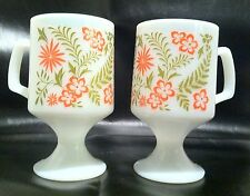 Vtg Set Anchor Hocking FireKing Orange Flower Milk Glass Pedestal Footed Cup Mug