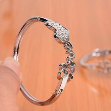 *UK* Ladies 925 silver love heart crystal bracelet bangle gift jewellery charm