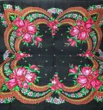 Russian Scarf Black Bright Flowers Fringe Wool 34' Square