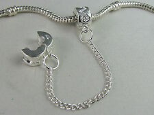 925 STERLING SILVER PL STAMPED CLIP ON SAFETY CHAINS EURO STYLE CHARM BRACELETS