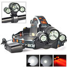 BORUIT 6000LM 3x XM-L T6 White+2R5 Red LED Bicycle Head Light Headlamp Torch+CH
