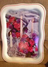 Vintage Metal Serving Tray picture pink purple flowers candles white border