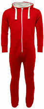 New Womens Mens Unisex Plain Ladies All In One Jumpsuit Hooded Onesie Playsuits