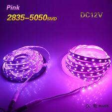 5M 2835 5050 SMD Pink Flexible 300 LED Strip Ribbon Female AdapterLamp DC12V