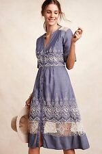 NWT SZ 10 $188 ANTHROPOLOGIE EMBROIDERED WATERS SHIRTDRESS BY MOULINETTE SOEURS