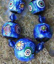 Art Deco Venetian Midnight Blue Millefiori Foil Glass Beads Necklace