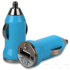 BLUE SMALL IN CAR USB CHARGER ADAPTOR PLUG FOR BLACKBERRY 9900 BOLD TOUCH PHONE