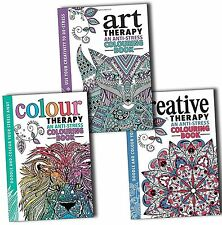 Art Colour & Creative Therapy Anti Stress Adult Colouring 3 Books Collection Set