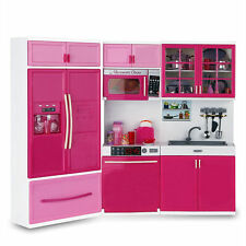 Kids Large Kitchen Playset Girls&Boys Pretend Cooking Toy Play Set Pink Gift