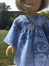 "Doll Clothes 18"" Handmade Dress Bell Sleeves Leaves Necklace NEW American Girl"