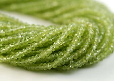 """2.5X1.5MM PERIDOT GEMSTONE GREEN GRADE AAA FACETED RONDELLE LOOSE BEADS 13"""""""