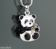 w Swarovski Crystal Black White Panda Bear Enamel 3D Pendant Necklace