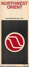 Airline Timetable - Northwest Orient - 12/06/81 - First Class Sleeper Seat