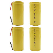 4PCS Sub C 2500mAh 1.2V Ni-CD Rechargeable Battery Tabs Power Tools Pack Yellow