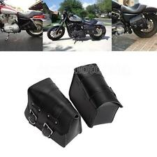 Black Leather Motorcycle Saddlebags Tool Bag For Harley Sportster XL 883/1200