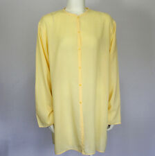 Eileen Fisher Yellow Tunic Shirt Sz L Large Long Sleeve Lightweight Cotton