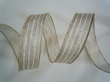5yd Ivory Gold Stiches Wired Ribbon Wedding Pew Bow Christmas Wreath Bow Decor