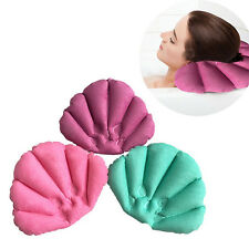 Home Spa Inflatable Shell Shaped Bath Pillow Back Neck Cushion w/ 2 Suction Cups
