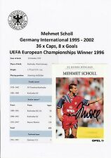 MEHMET SCHOLL GERMANY 1995-2002 EUROPEAN WINNER 1996 ORIGINAL SIGNED PROMO CARD