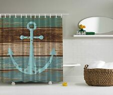 Blue Aqua Beige Nautical Anchor Beach Fabric Shower Curtain Digital Art Bathroom