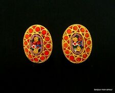 SALE-Mikro Mosaik Ohrclips Ohrringe, Micro Mosaic Earrings, Boucles d'oreilles