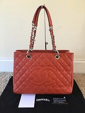 Authentic Chanel GST Grand Shopper Tote Red Caviar Leather Silver Hardware