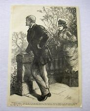 1879 antique engraving - Woman with Knife Attacks Day Dreaming Man