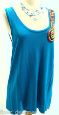 Joseph A Qu'est-Ce Que C'est Silk NEW Top Aqua Cami knit Sweater wooden beads L