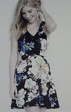 EXPRESS Size 0 BLACK FLORAL DOUBLE V-NECK FIT & FLARE SHEATH DRESS XS BLUE WHITE