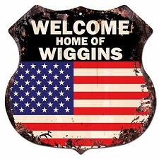 BPWU-0641 WELCOME HOME OF WIGGINS Family Name Shield Chic Sign Home Decor Gift
