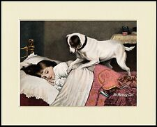 SMOOTH FOX JACK RUSSELL TERRIER DOG WAKING GIRL PRINT MOUNTED READY TO FRAME