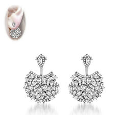 Pave 5A Cubic Zirconia Sterling Silver Cluster Ear Jacket Earrings-18K Vermeil