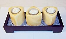 3 Votive Wooden Candle Tray w/Ceramic Towers, Florettes & Decorative Gravel
