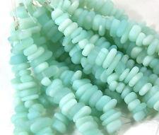 22psc.(6x9mm) Sea Glass Beach Glass Pebble Beads, Opaque Sea Foam Green