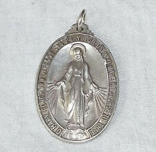 VINTAGE Sterling Silver Big MIRACULOUS MEDAL with Art Deco Bail - 7.3 Grams!!