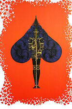 Erte 1982 - ACE of SPADES -Warrior GAMBLING CARD GAME - Art Deco Print Matted