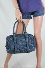 NEW BURBERRY Ruched Leather Medium MOSELLE Bowling BAG Teal Blue $1995+ Purse