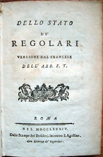 1810 DELLO STATO DE' REGOLARI, CHIESA CATTOLICA ORDINI RELIGIOSI MONACI MISSIONI