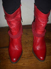 COM 9/ BOTTINES ONE STEP CUIR ROUGE P38