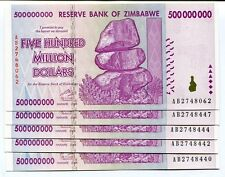 ZIMBABWE 2008 500 MILLION  MONEY BANKNOTE UNC - P 82 - CURRENCY AB x 5 PIECES