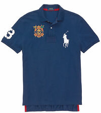 Polo Ralph Lauren Mens Big Pony Crest #3 Blue Black White Solid Button Shirt New