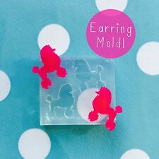 EARRING MOLD - Poodle Dog Resin Craft Silicone Rubber Stud Earring Dog