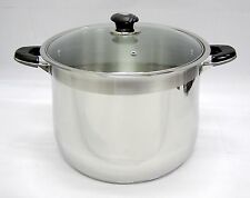24 qt Quart HD 18/10 Stainless Steel Thick Capsule Base Stock Pot w/ Glass Lid
