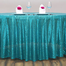 "120"" Turquoise SEQUIN ROUND TABLECLOTH Wedding Party Catering Reception Linens"